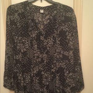 Tunic style long cotton black white print top
